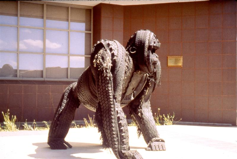 <span>Gorilla Route 66</span><br />1990 - 65&quot x 52&quot x 62&quot - welded steel, cast-off tire treads, copper wire