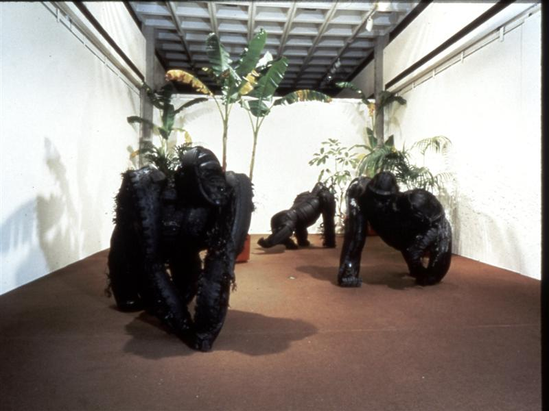 <span>Gorillas Route 14, 5, 15</span><br />1984 - 4 to 5 ft tall - welded steel, cast-off tire treads, copper wire