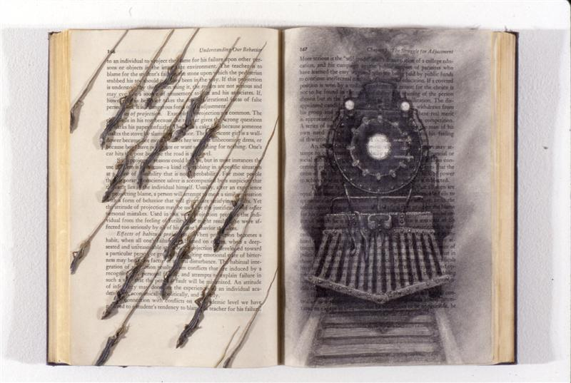<span>Light At The End Of The Tunnel</span><br />1996 - 19&quot x 12&quot x 1½&quot - book, lizards, pencil, sealant