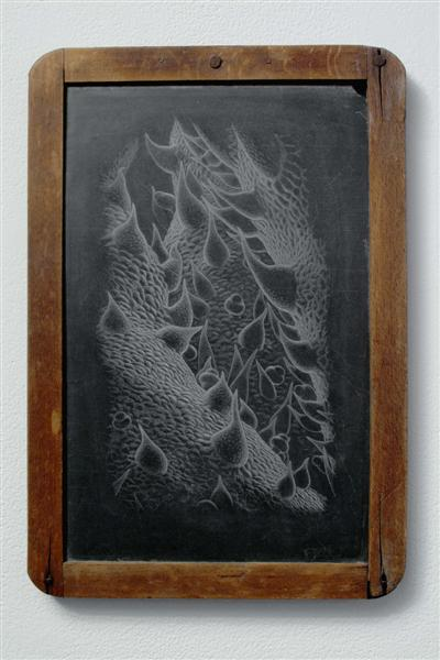 <span>The Joy Of Finding Things Out</span><br />2005 - 12½&quot x 8½&quot x 3/4&quot - scratched child's chalkboard