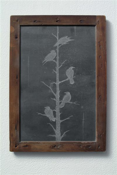 <span>The Problem With Finding Things Out</span><br />2006 - 12&quot x 8½&quot x ½&quot - scratched child's chalkboard