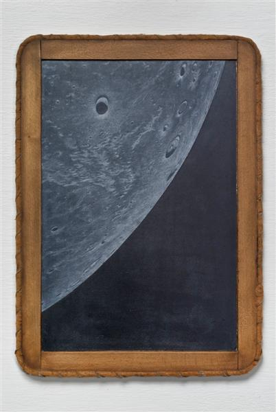 <span>Weight Of The Moon</span><br />2009 - 14&quot x 10&quot x ½&quot - scratched child's chalkboard