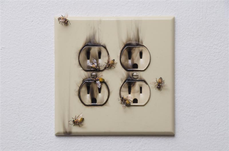 <span>Where There's Smoke</span><br />2015 - 5½&quot x 5¼&quot x 3/4&quot - handmade bees, outlet, smoke, sealants, mixed media